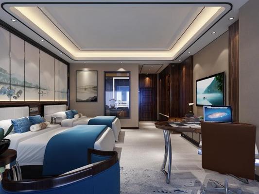 新中式酒店客房3D模型【ID:427950680】