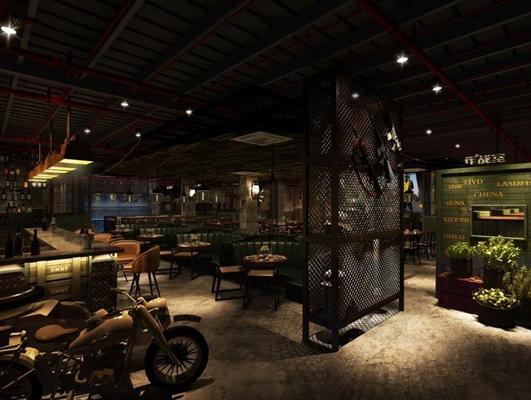 军事主题餐厅3D模型【ID:728070954】