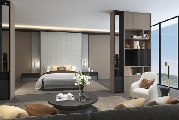 豪华现代酒店客房3D模型【ID:427950660】