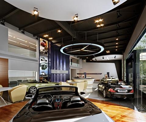 奔驰汽车专卖店3D模型【ID:628045941】