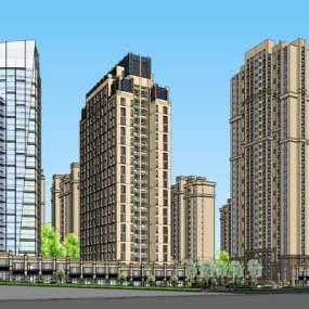新古典高层住宅 酒店 办公楼 入口SU模型【ID:245612752】