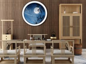 中式实木泡茶桌椅装饰柜组合3D模型【ID:327787645】