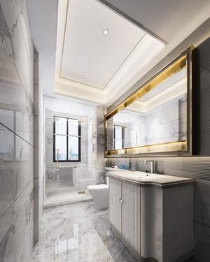 现代卫生间浴室 现代卫浴 洗脸台 梳妆镜 马桶 淋浴头 摆件
