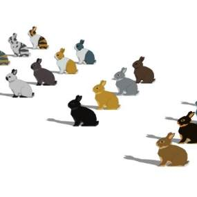2D兔子组合SU模型【ID:846380003】