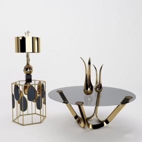 法式金属边几组合装饰品3D模型【ID:128221208】