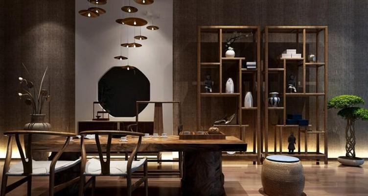 新中式茶桌椅3D模型【ID:327908624】