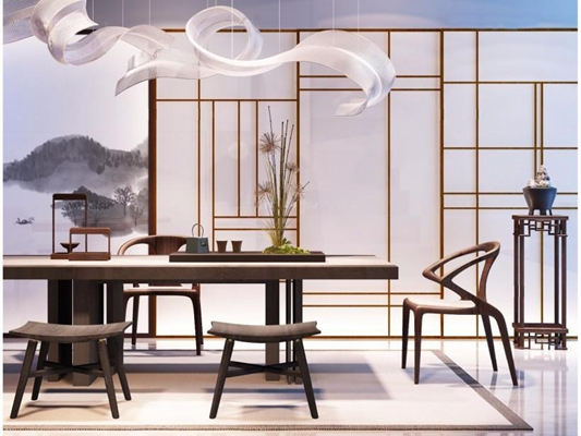 现代新中式茶桌椅子吊灯组合3D模型【ID:427951020】