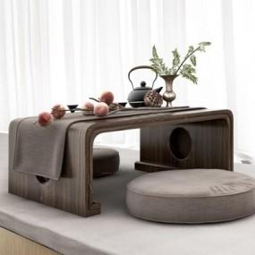 新中式茶桌3D模型【ID:127849607】