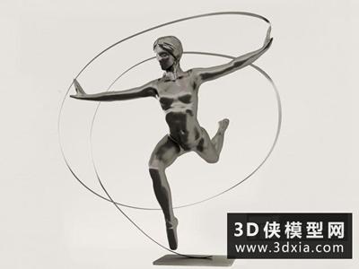 现代装饰雕塑国外3D模型【ID:929593735】