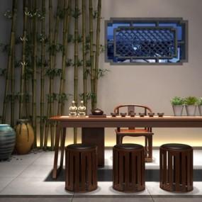 新中式茶桌椅3D模型【ID:127849608】