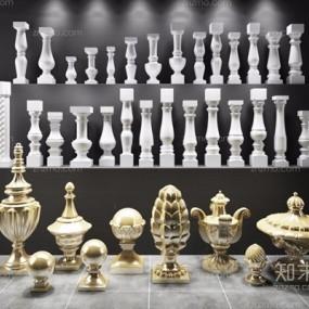 欧式花瓶柱组合3D模型【ID:628045575】