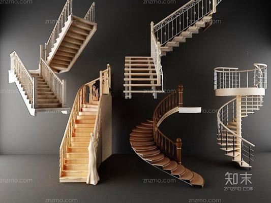 旋轉樓梯步梯組合3D模型【ID:928168299】