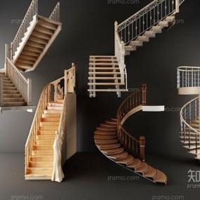 旋转楼梯步梯组合3D模型【ID:928168299】