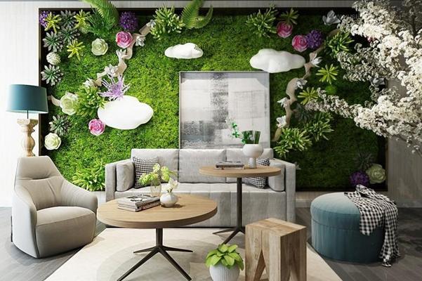 现代绿植墙饰沙发组合3D模型【ID:427953217】