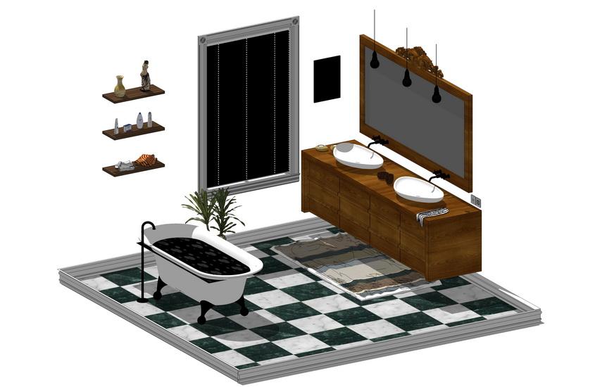 卫生间家具组合SU模型【ID:636352942】
