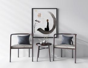 新中式实木单椅边几装饰画组合3D模型【ID:227779402】