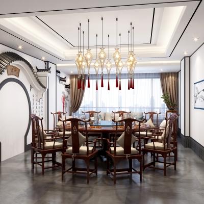 新中式餐厅3D模型【ID:328439619】