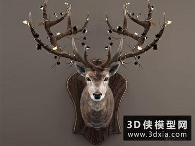 鹿头装饰品国外3D模型【ID:929474831】