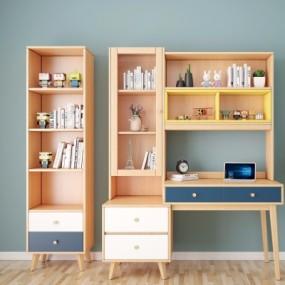 现代书桌书柜组合3D模型【ID:128414971】
