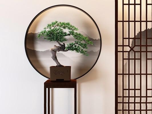 新中式松樹植物盆栽3D模型【ID:327932884】