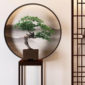 新中式松树植物盆栽3D模型【ID:327932884】
