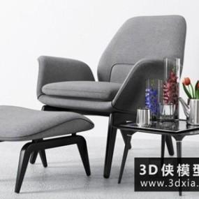 现代休闲椅国外3D模型【ID:729649857】