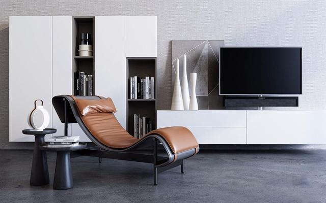 现代电视柜躺椅边几组合3D模型【ID:227891622】