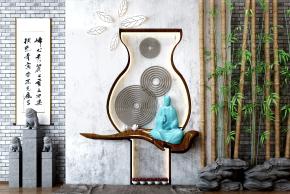 新中式石狮子竹子摆件组合3D模型【ID:127754837】