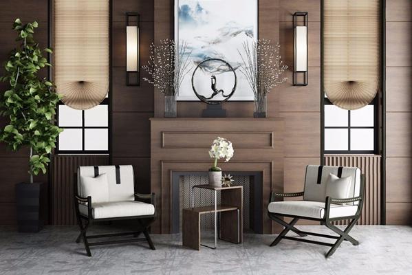 新中式椅子茶几组合3D模型【ID:227882461】