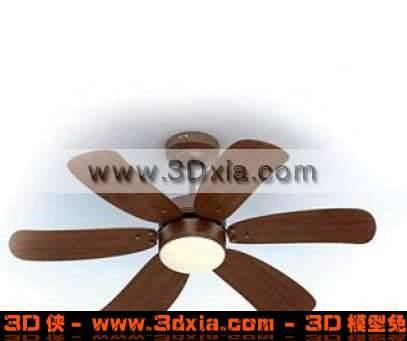 非常精美的3D木质六叶电风扇模型下载3D模型【ID:2340】