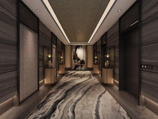 现代新中式电梯厅3D模型【ID:427967881】