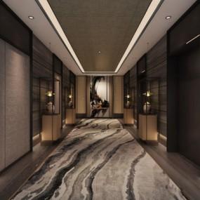 現代新中式電梯廳3D模型【ID:427967881】