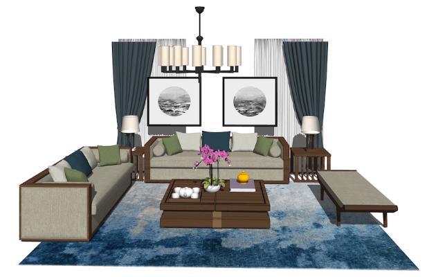 新中式沙发茶几组合SU模型【ID:748081632】