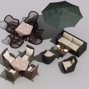 现代户外藤编休闲桌椅组合3D模型【ID:328440324】