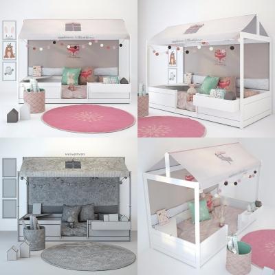现代儿童床玩偶组合3D模型【ID:727810141】