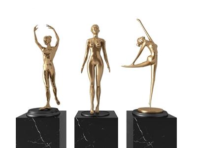 現代人物雕塑擺件3D模型【ID:341359117】