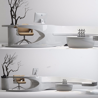 現代前臺辦公椅組合3D模型【ID:628051384】