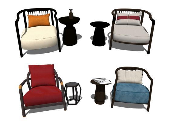 新中式单人椅子角几组合SU模型【ID:947336466】