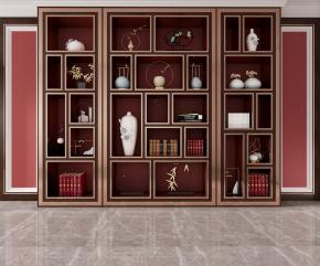 新中式书柜书籍摆件组合3D模型