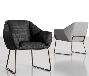 現代布藝單椅組合3D模型【ID:227779439】