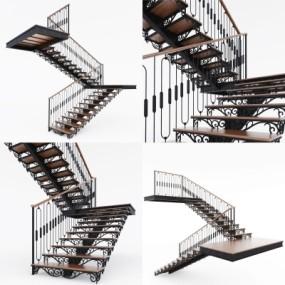 欧式铁艺楼梯3D模型【ID:828473544】