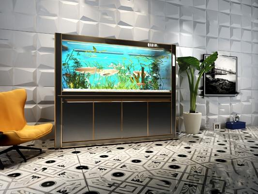 现代鱼缸3D模型