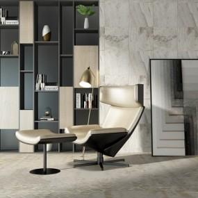 现代休闲椅书柜组合3D模型【ID:927836526】