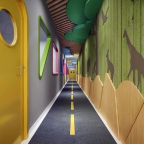 现代幼儿园走道3D模型【ID:528452826】