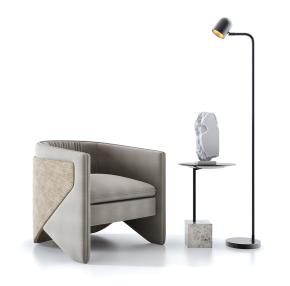 现代单人沙发圆几落地灯组合3D模型【ID:927821631】