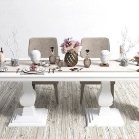现代餐桌椅餐具摆件组合3D模型【ID:841805899】