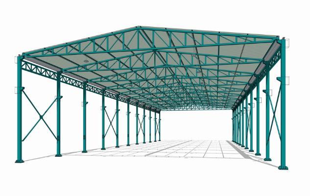 鋼結構框架工業廠房SU模型【ID:846369052】