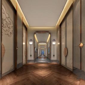 新中式酒店走廊过道3d模型【ID:743348460】