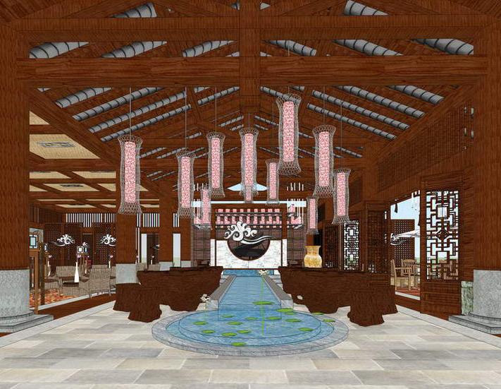 中式餐厅室内设计SU模型【ID:636353075】