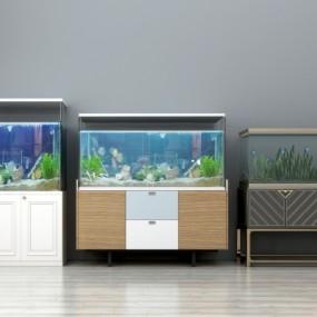现代玻璃鱼缸3D模型【ID:628458752】